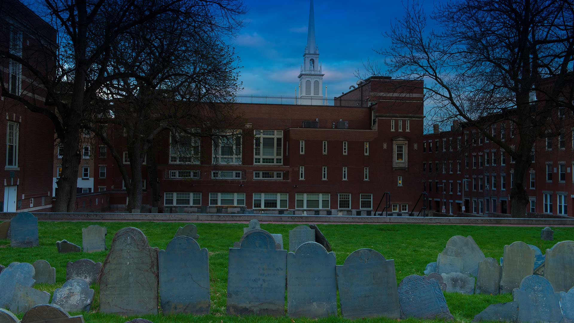 copps hill burying ground at night boston