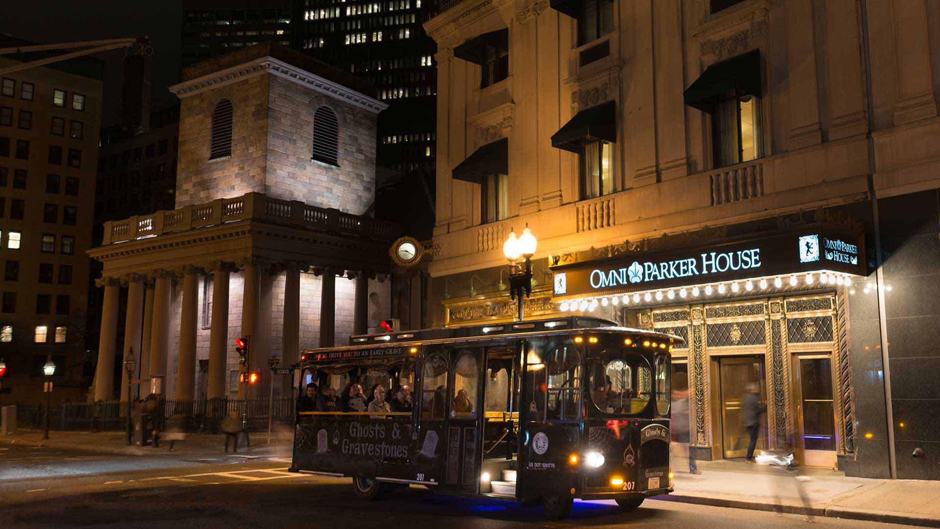 boston ghost tour trolley in front of omni parker house