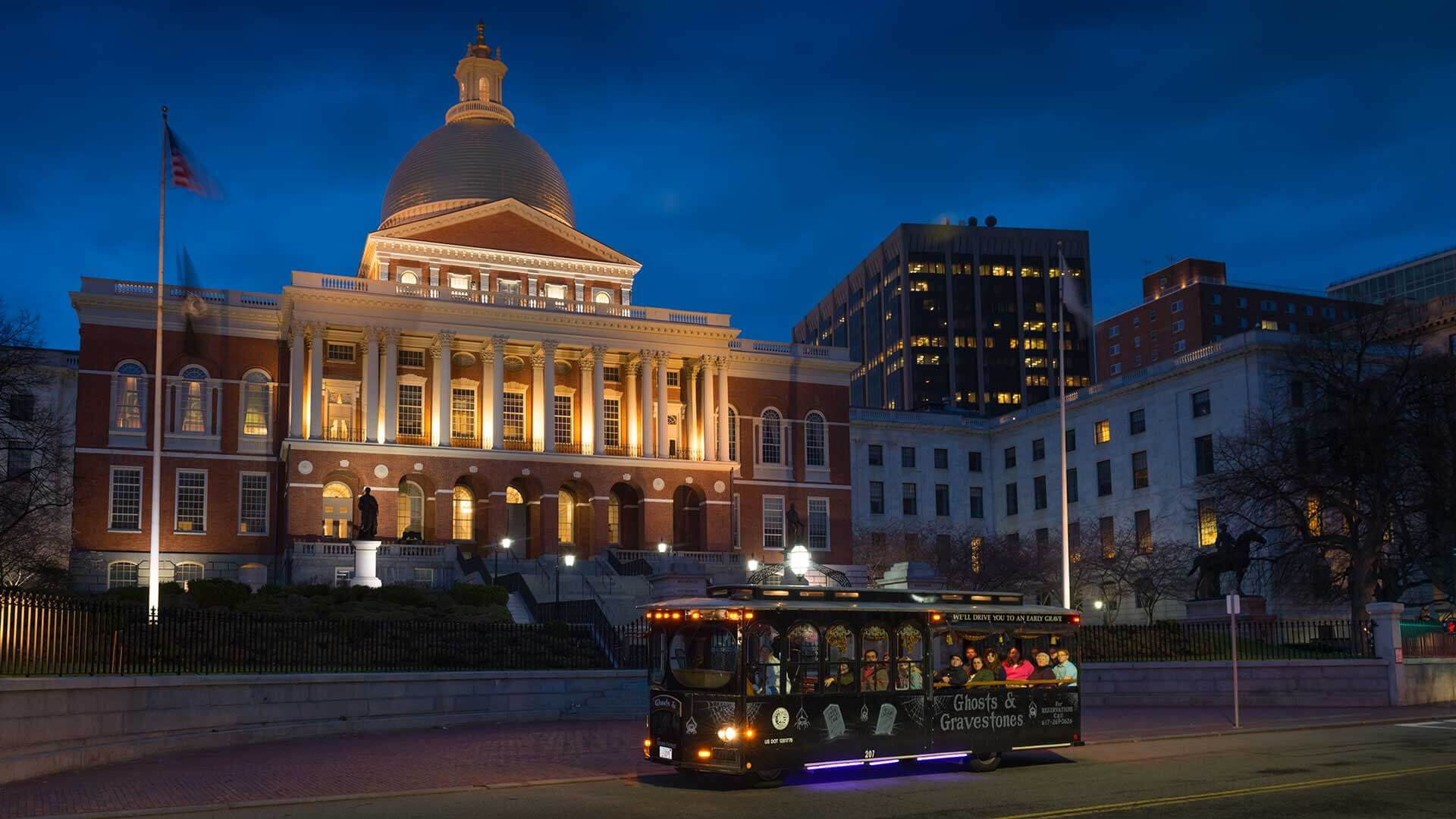 state house boston and ghost trolley