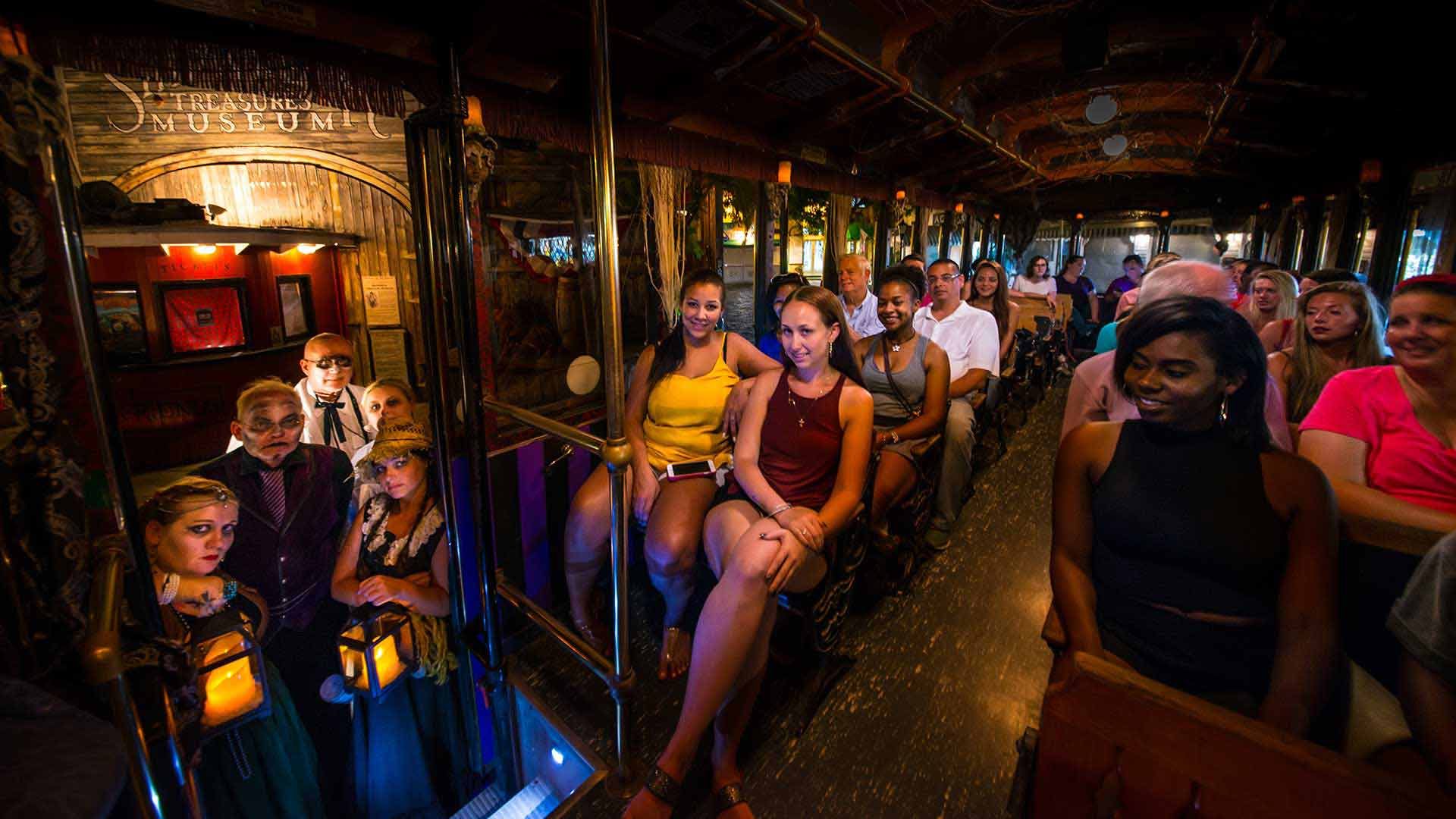 key west ghost trolley interior with guests