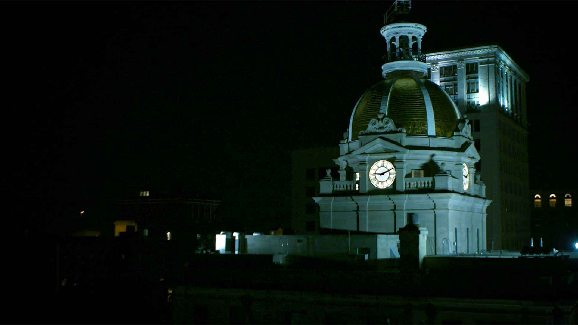 savannah clock tower at night