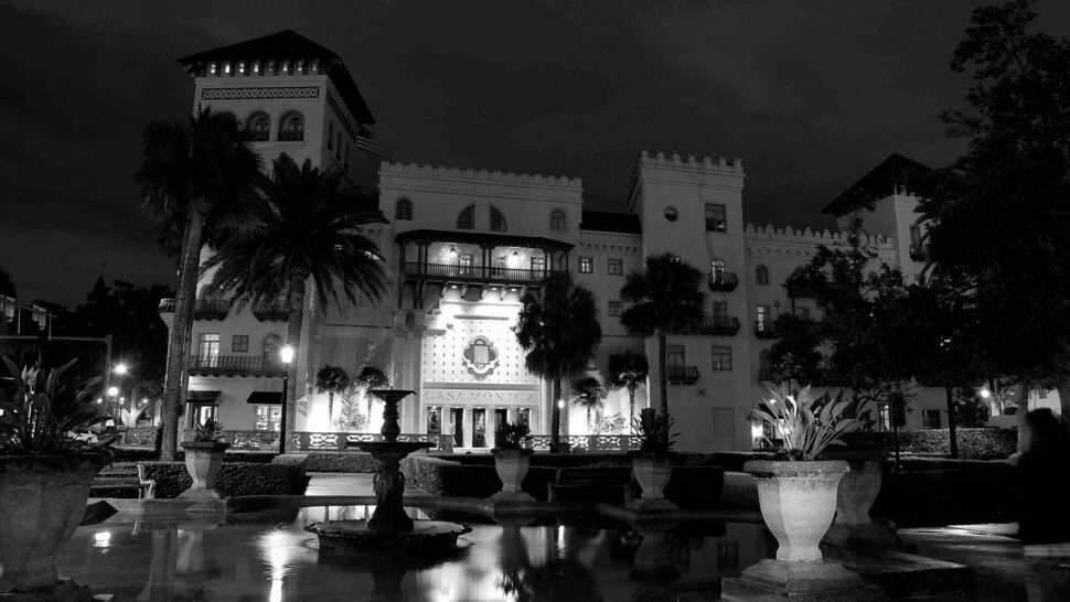 casa monica hotel st augustine black and white photo