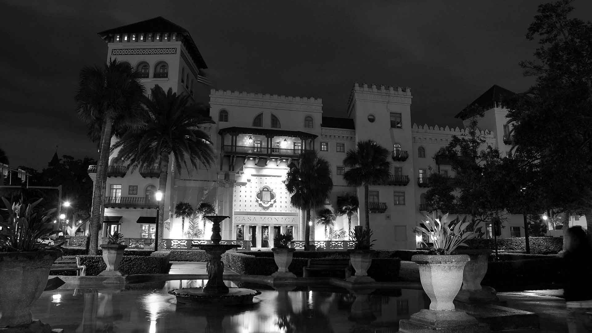 casa monica hotel st augustine black and white photo