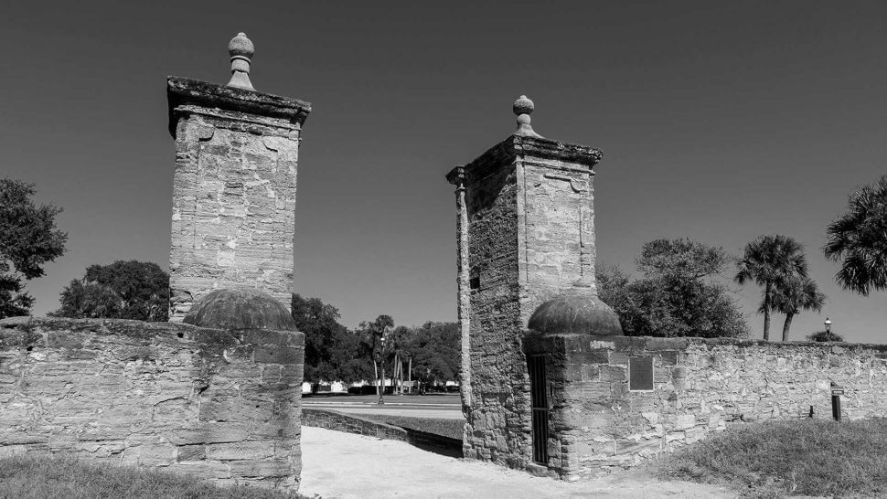 st augustine city gates black and white