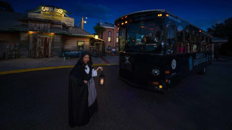 ghost tour trolley with tour guide