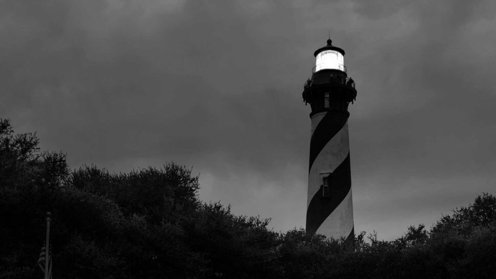 st augustine light house black and white