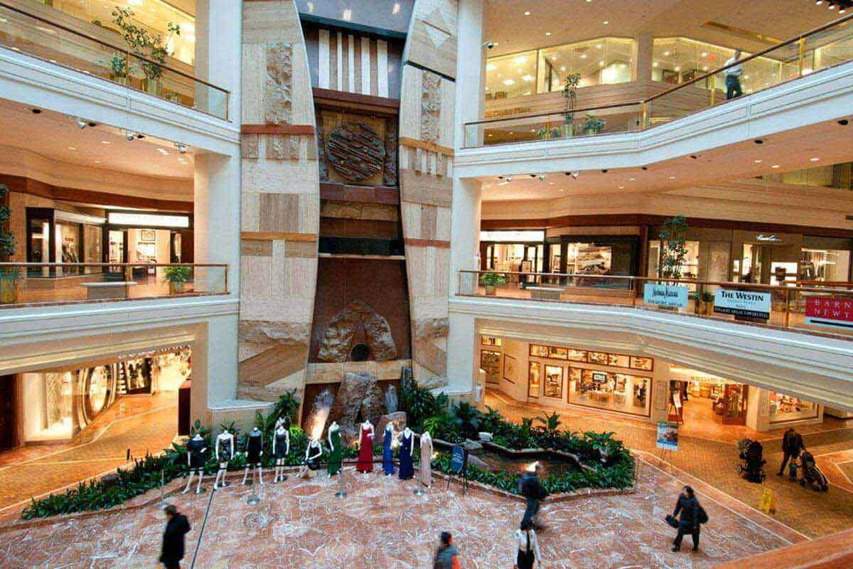 Interior picture that shows Copley Place with three floors of shops