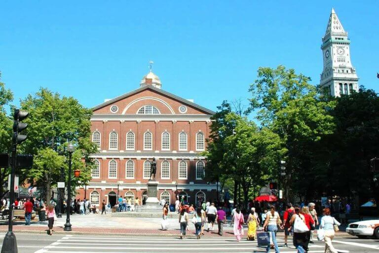 A Ghosts & Gravestones branded page from Boston that shows the exterior of Boston's Faneuil Hall
