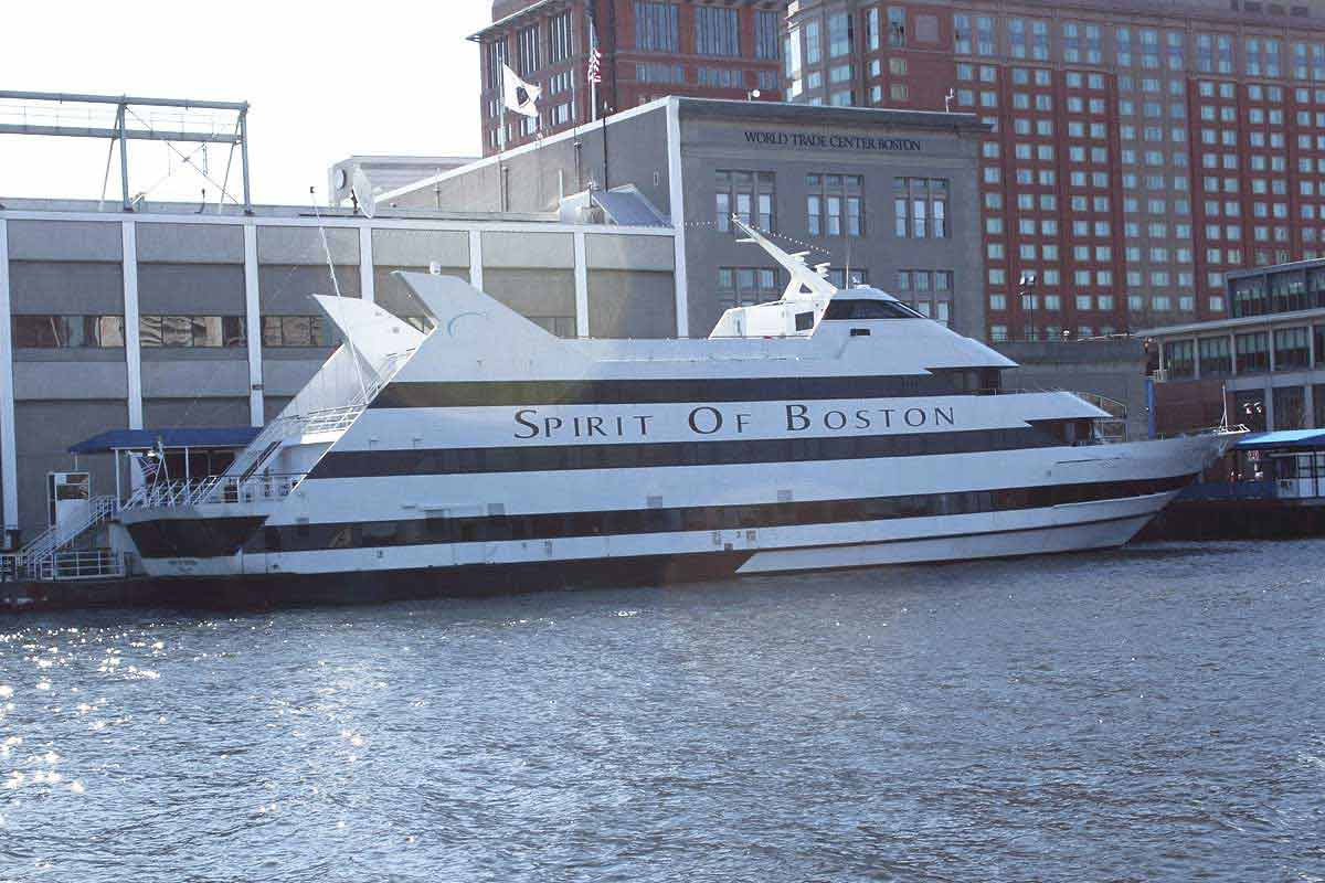 A docked passenger ship called the Spirit of Boston in the Seaport District