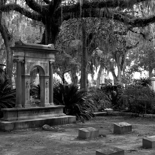 A memorial archway with the name IVES imprinted on it in the Bonaventure Cemetery in Savannah, GA