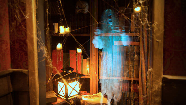 picture of St. Augustine's Cromwell's Curiosities featuring a ghost, lamp, bookshelf and books