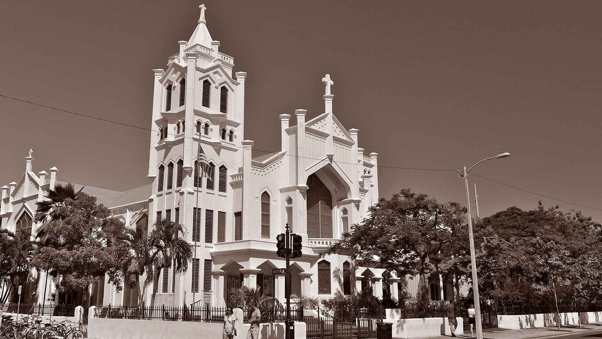 key west st paul church sepia