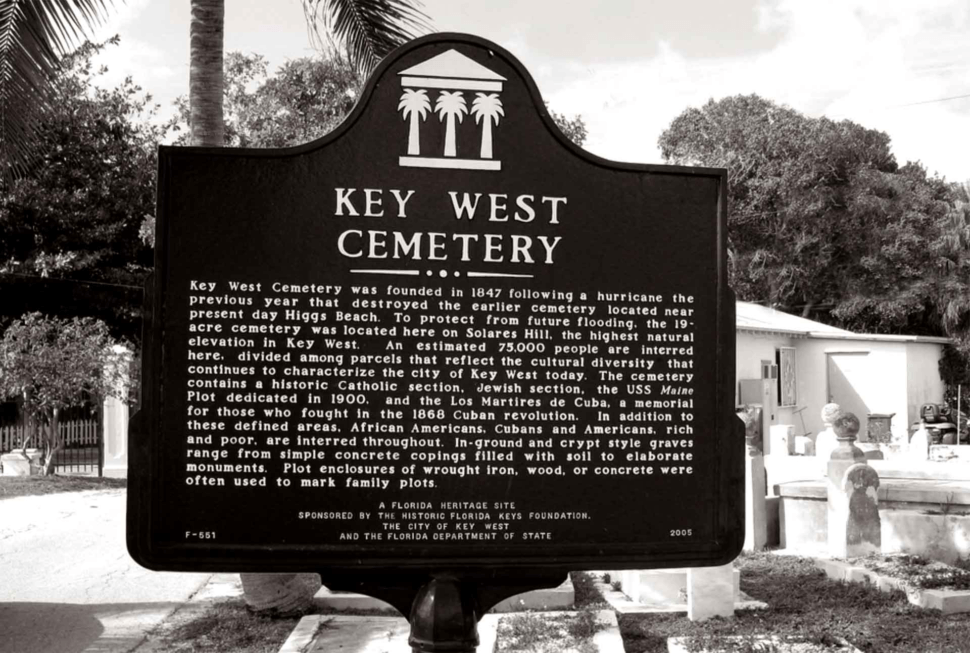 key west cemetery sign black and white