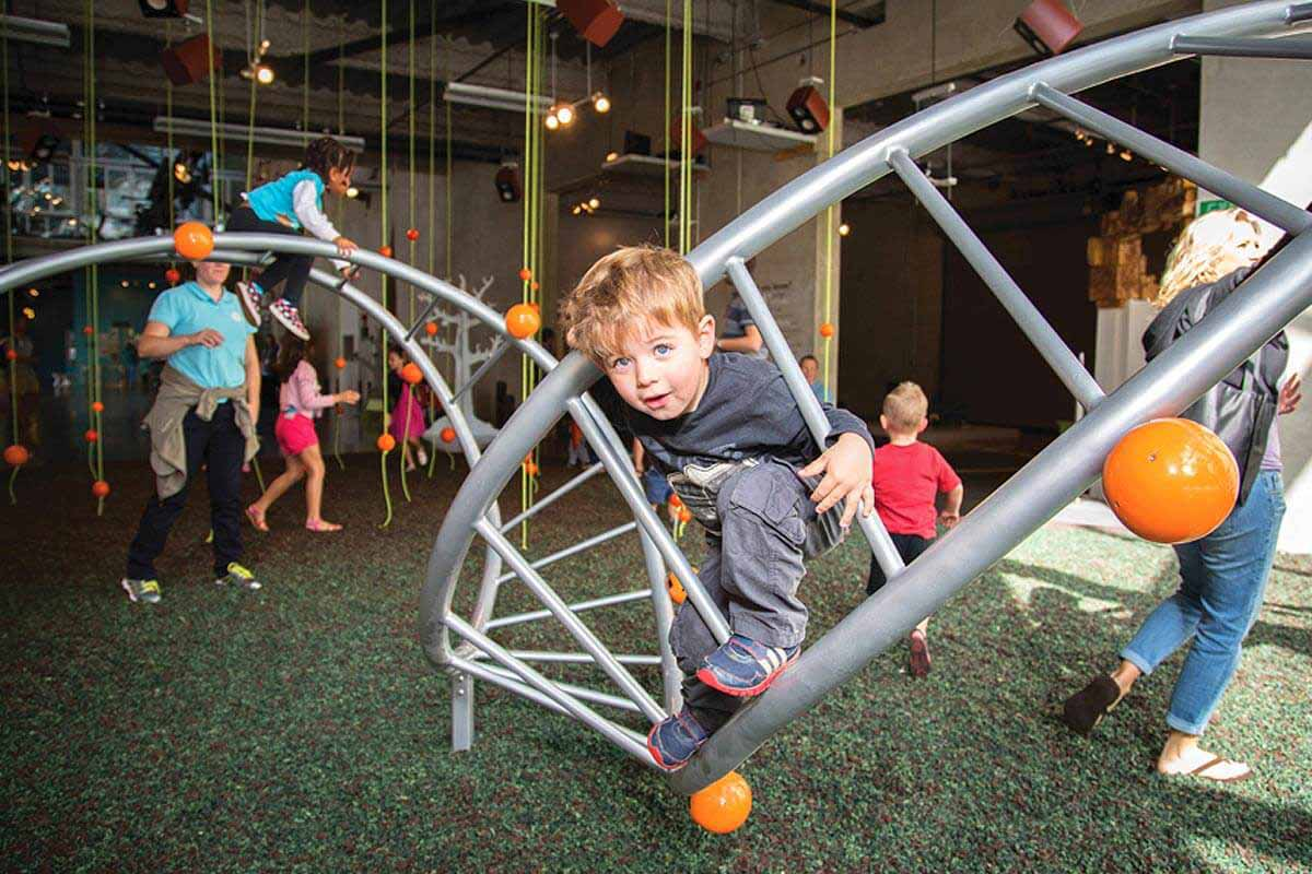 child playing in jungle gym at san diego childrens museum