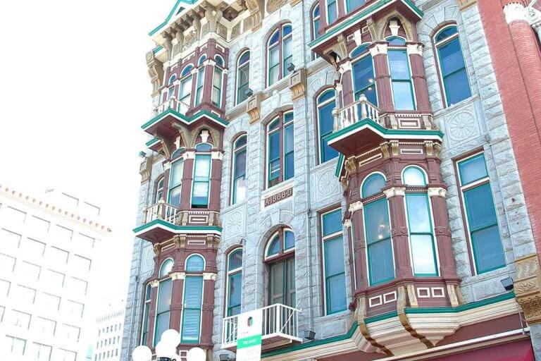 historic architecture building facade in gaslamp quarter