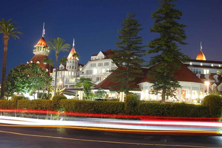 street view of hotel del coronado at night in san diego