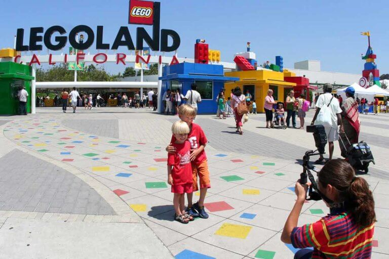 young children at legoland san diego entrance