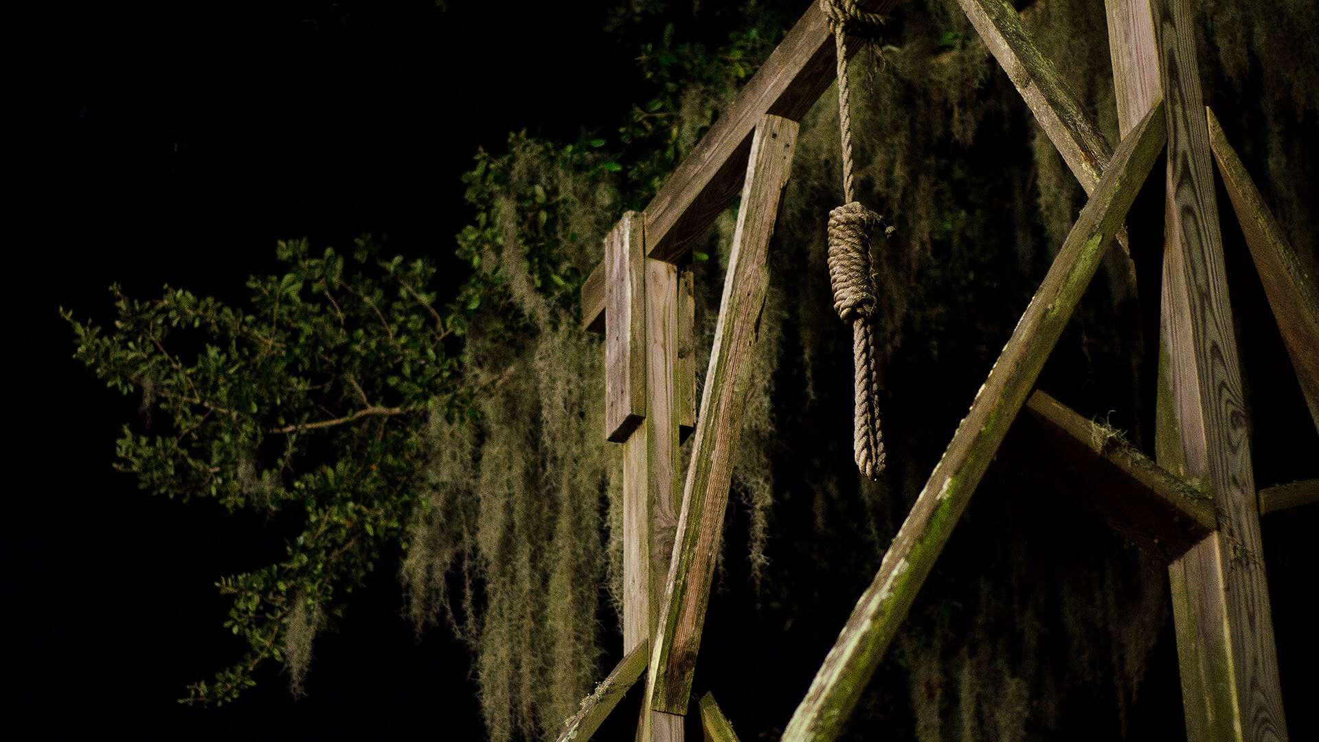 image of gallows at night in St. Augustine