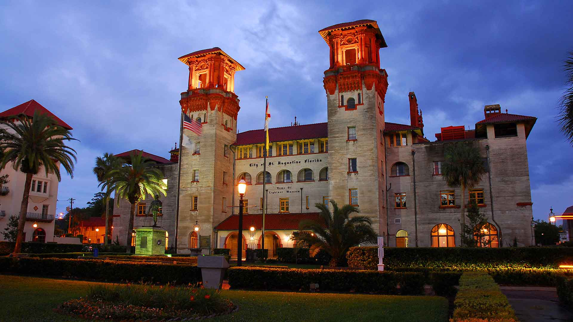st augustine lightner museum at night