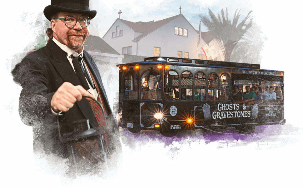 San Diego Ghost Tour Black Trolley and Tour Guide