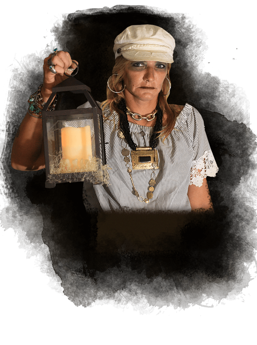 picture of key west ghost host holding a lantern