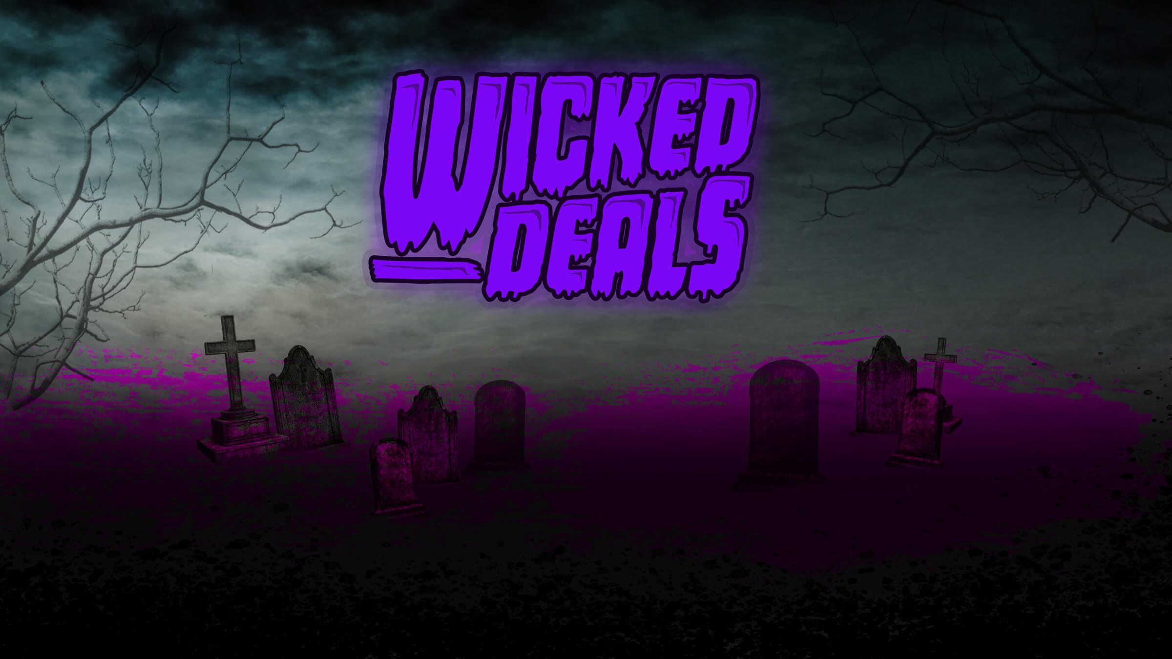 Illustration featured gnarled trees, a cemetery and the words 'Wicked Deals'