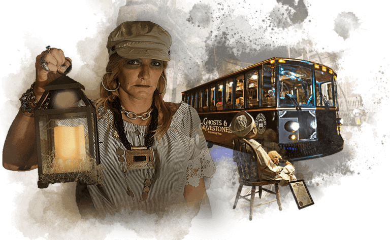 collage composed of a Key West ghost host lady holding a lantern, Robert the Doll and Ghost Tour trolley.