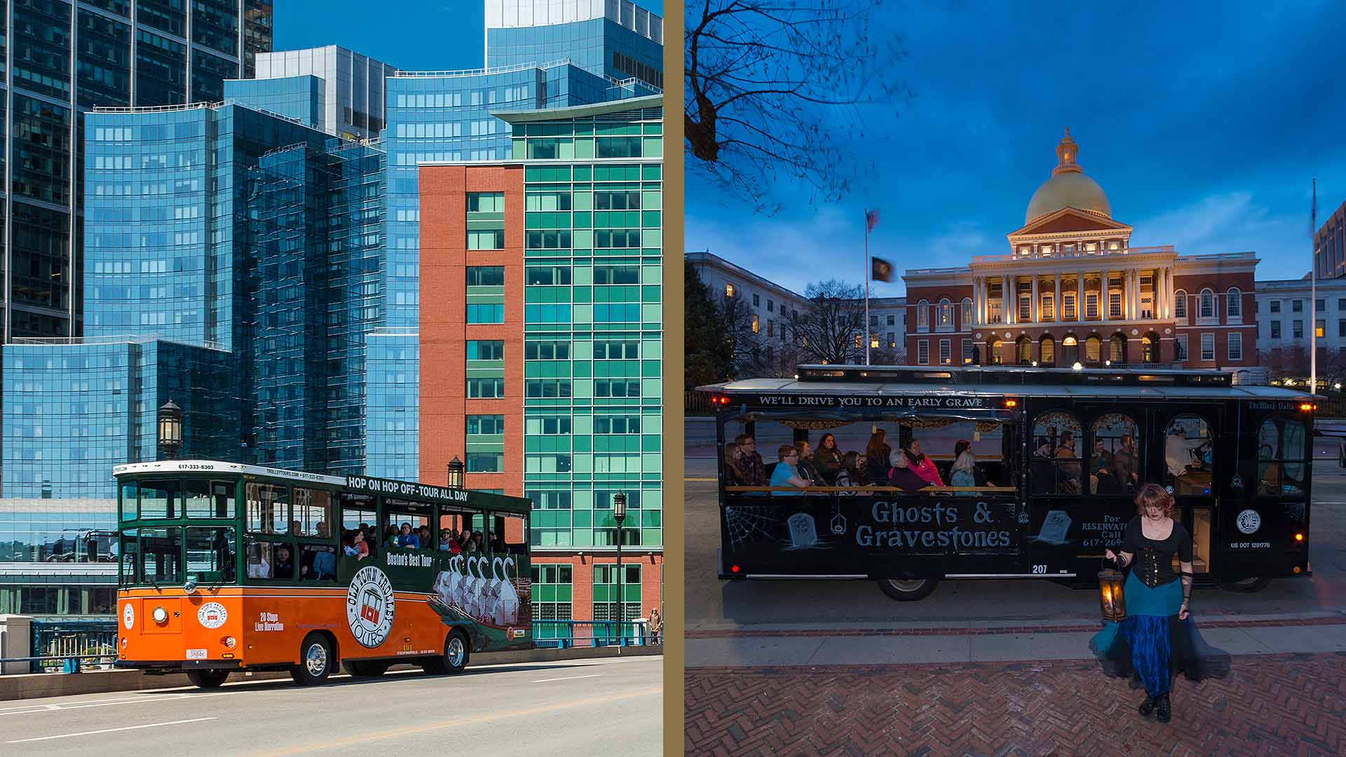 Boston Old Town Trolley and night tour trolley