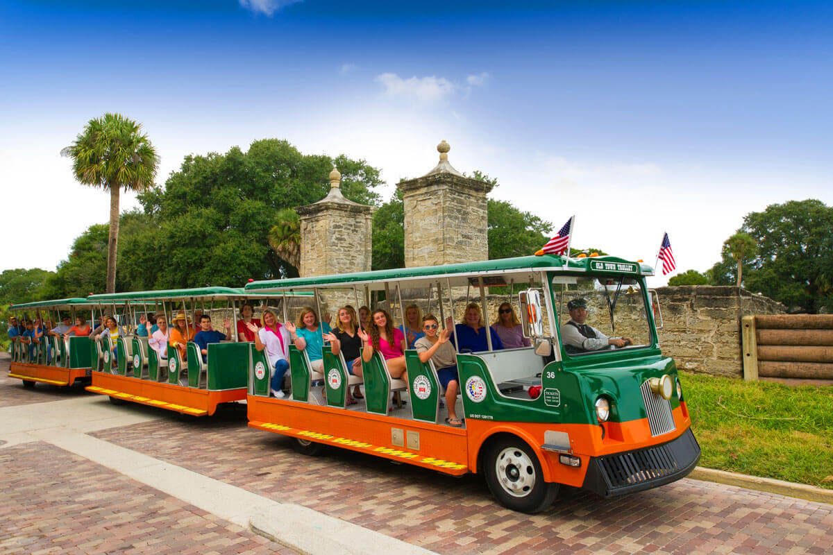 St. Augustine trolley driving past city gates