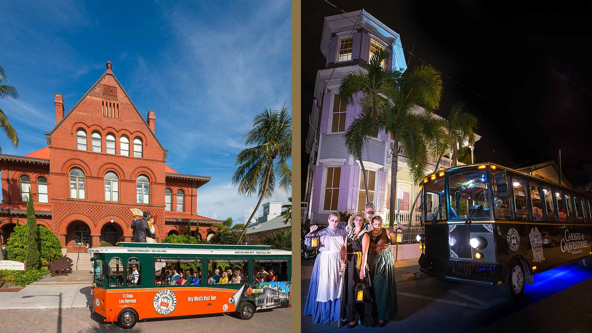 Key West Old Town Trolley and night tour trolley
