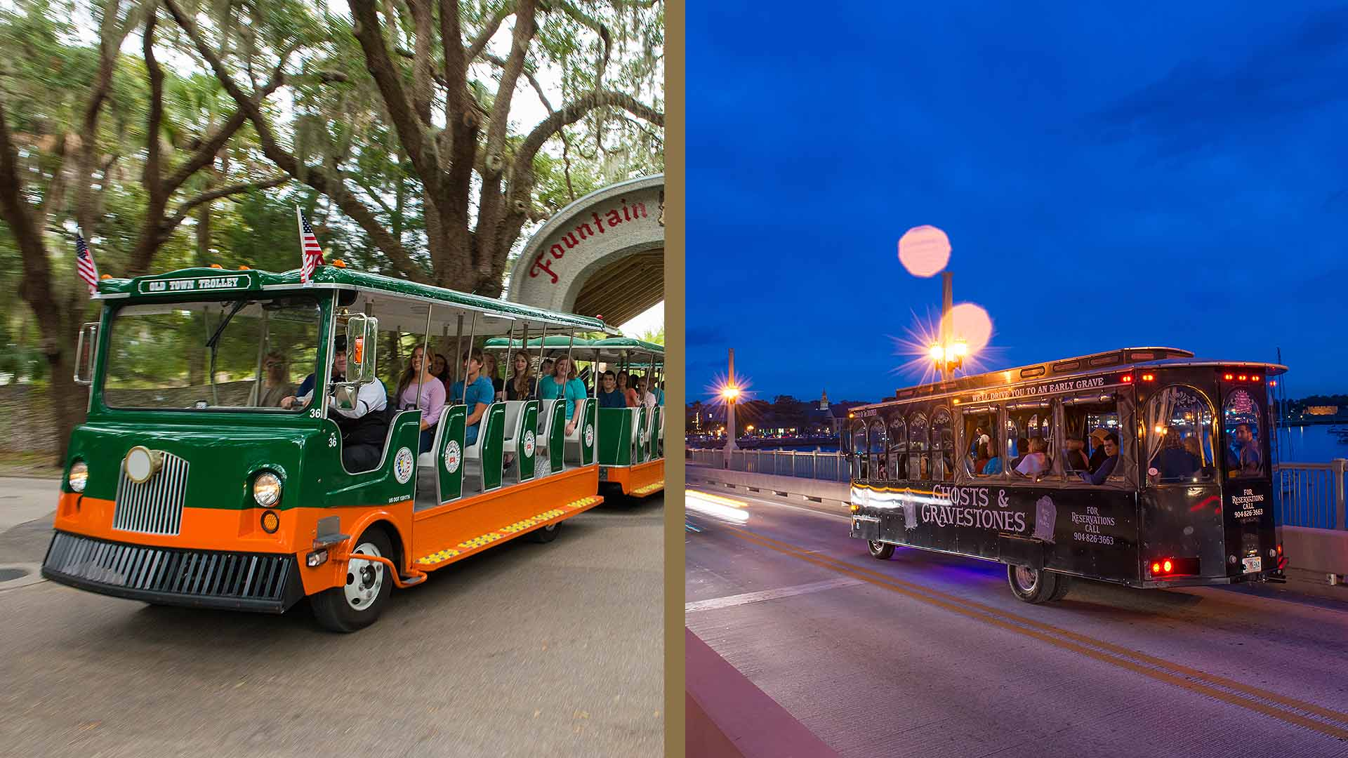 St. Augustine Old Town Trolley and night tour trolley